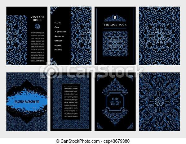 vecteur de bleu oriental carte postale cadre musulman lignes csp43679380 recherchez. Black Bedroom Furniture Sets. Home Design Ideas
