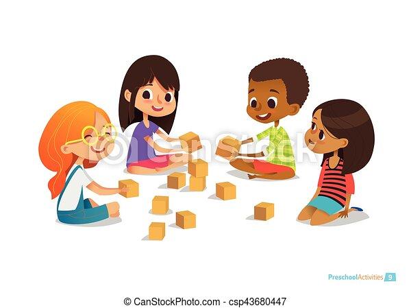 Kinder sitzen im kreis clipart  EPS Vektor von vektor, spielen, spielzeug, poster., banner, sitzen ...