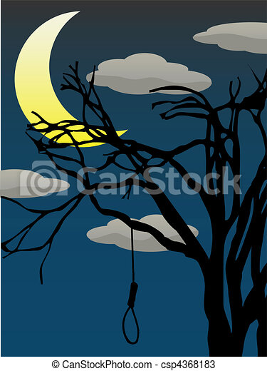 Spooky Quarter Moon bare tree hangi - csp4368183