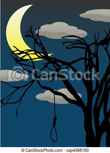 Spooky Quarter Moon bare tree hangi - csp4368183