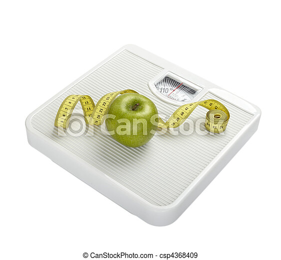 scale libra measurement tape diet fruit food apple - csp4368409