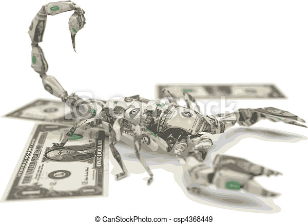 vector dollar origami scorpion - csp4368449