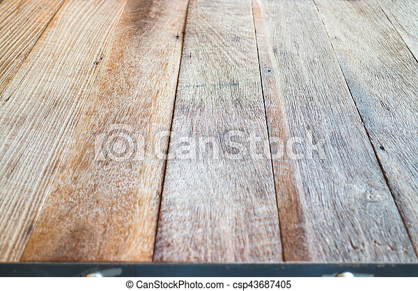 Wooden table top in industrial style, stock photo