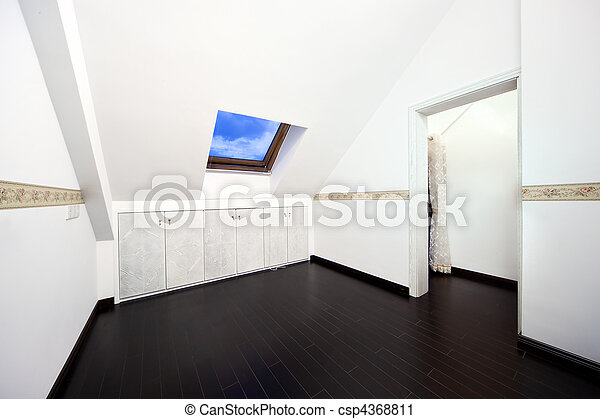 Attic room with roof skylight window - csp4368811