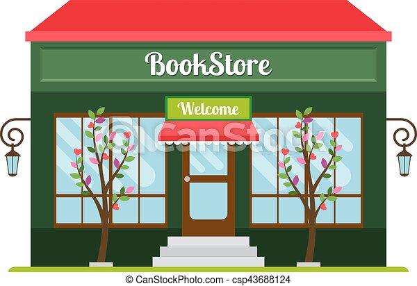 Vector Illustration of Book store facade icon - Book store facade ...