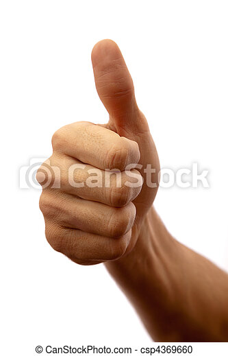 Photographed close up on white man's hand with thumb up shows that all great - csp4369660
