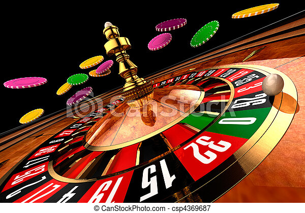 Roulette in casino chips from flying - wide shot on a black background - csp4369687