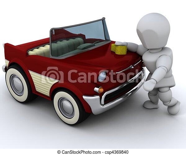 man washing a car - csp4369840