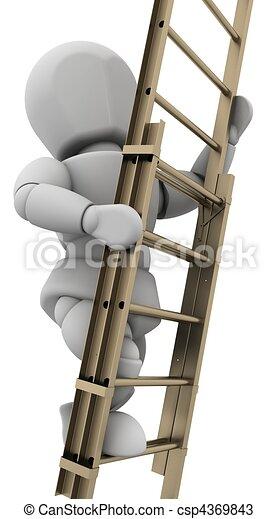 man climbing a ladder to achieve success - csp4369843