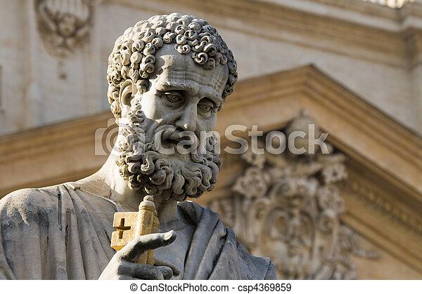 Sacred Peter's statue in Vatican. Detail - csp4369859