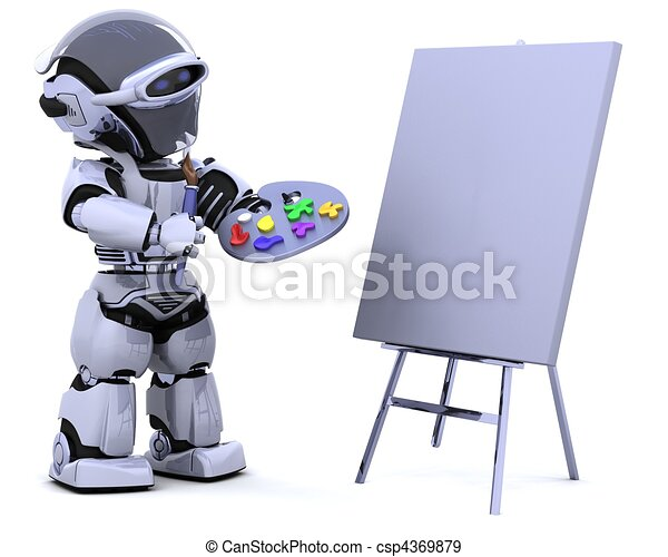 robot with pallette and paint brush - csp4369879