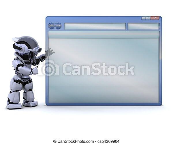 Dessin de fen tre informatique robot vide 3d render for Fenetre informatique