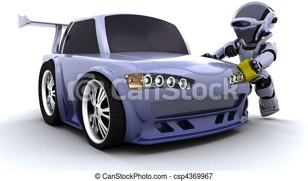 robot washing a car - csp4369967