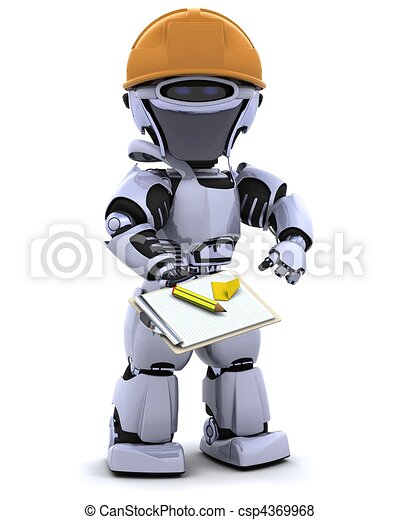 robot in hardhat with clipboard - csp4369968