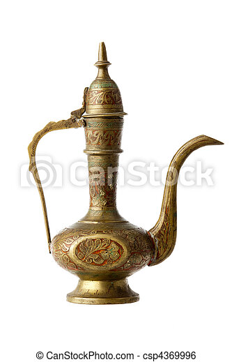 Stock Photo - Indian small carved bronze teapot, isolated on white