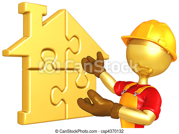 Worker With Gold Home Puzzle - csp4370132