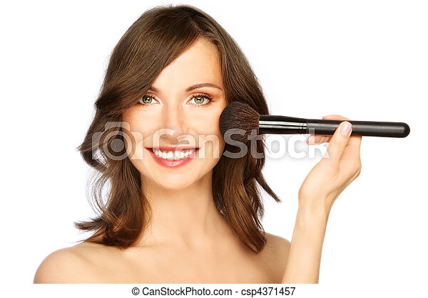 Woman applying make-up - csp4371457