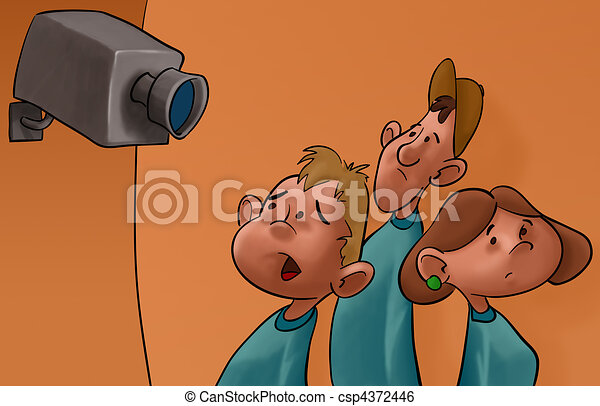 spy cam and the students - csp4372446