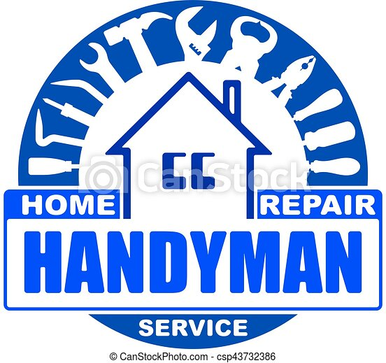 Handyman home repair services. Round vector design for your logo or emblem with home and set of workers tools. There are wrench, screwdriver, hammer, pliers, scrap. Blue gamma. - csp43732386