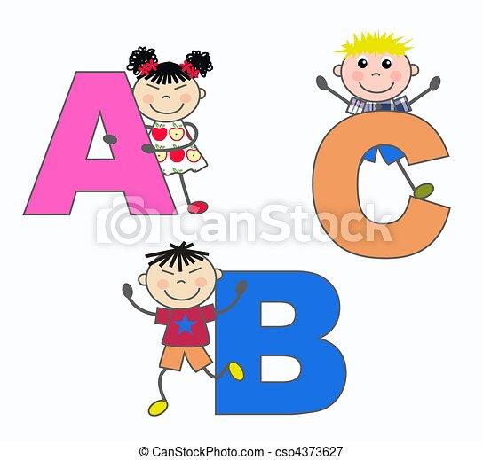 alphabet letters A B C - csp4373627