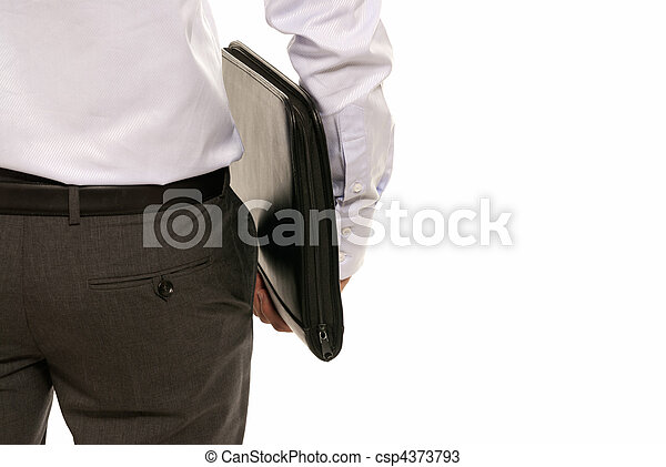 Unrecognizable businessman back with suitcase isolated on white background - csp4373793