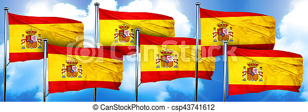Spanish flags, 3D rendering, on a cloud background