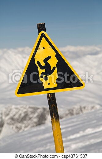 Warning sign about falling into crevasse