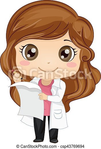 EPS Vectors of Kid Girl Scientist Formula - Illustration ...