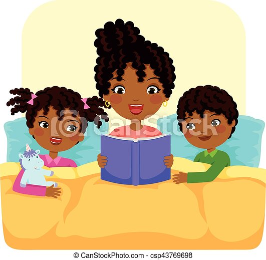 black family reading story - csp43769698