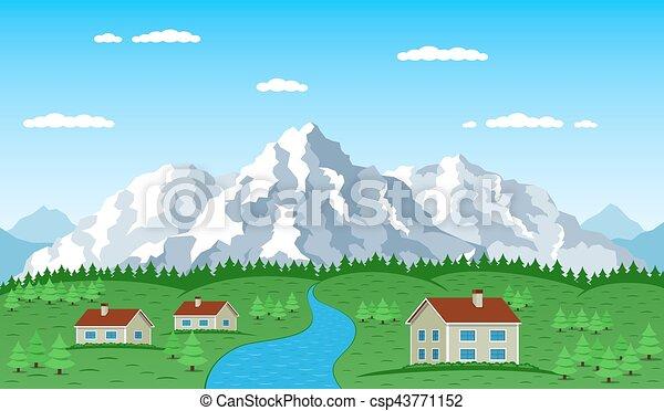 mountain village landscape - csp43771152