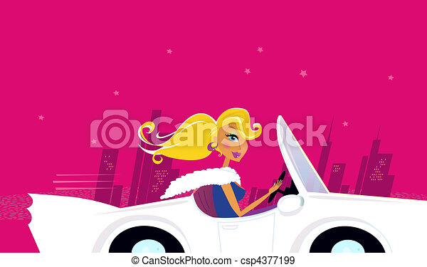 Girly Chick Driver in a Car - csp4377199