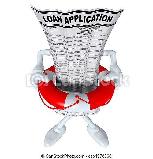 Loan Application In Life Preserver  - csp4378568