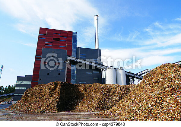 bio power plant with storage of wooden fuel - csp4379840