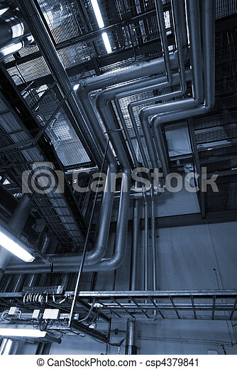 Industrial zone, Steel pipelines in blue tones  - csp4379841