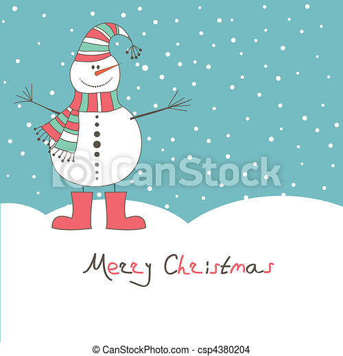 New year's card with  snow man - csp4380204