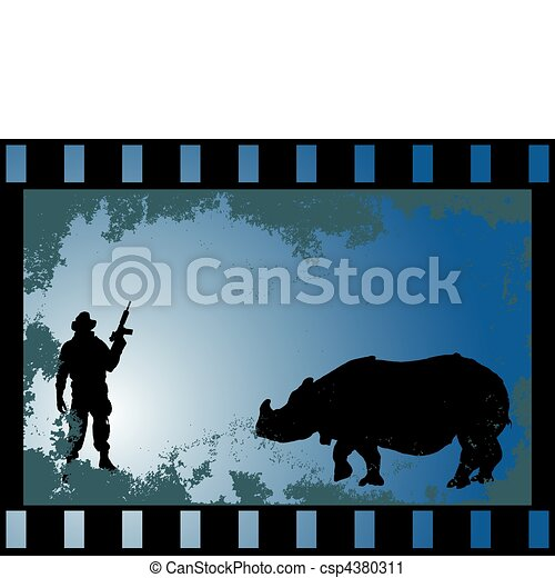 big game hunter with rhinoceros - csp4380311