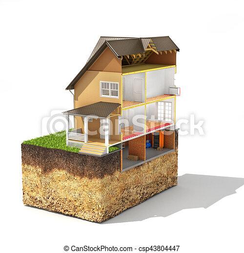 Haus bauen clipart  Zeichnung von schichten, begriff, haus, soil., freigestellt ...