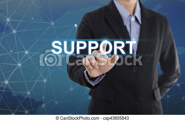 Businessman hand pressing button support. sign on virtual screen. business concept. - csp43805843