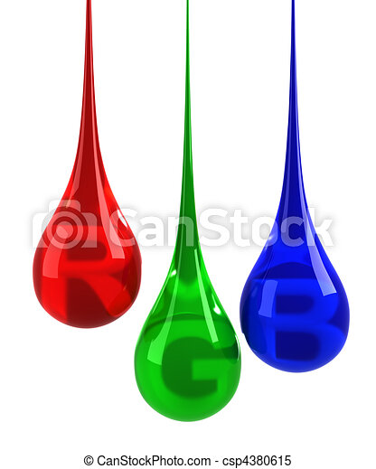 RGB drops isolated on white - csp4380615