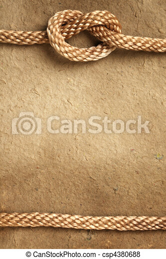 Handmade paper with rope border - csp4380688