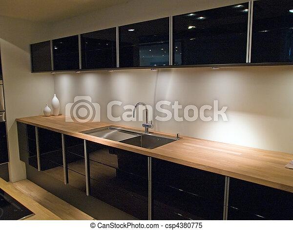 Images de bois moderne conception branch noir for Cuisine noir et bois moderne