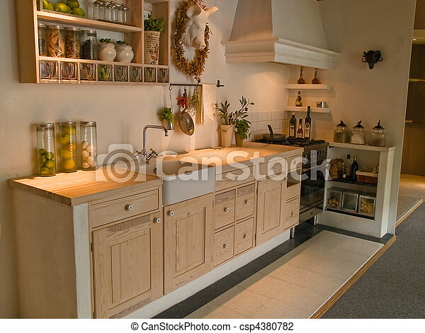 stock photo of modern neo classical design wooden country kitchen ... - Land Küche