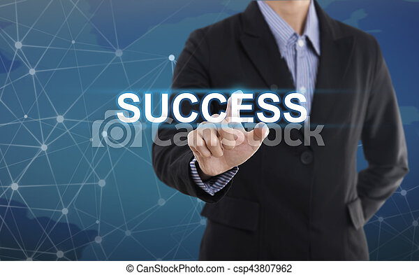 Businessman hand pressing button success. sign on virtual screen. business concept. - csp43807962