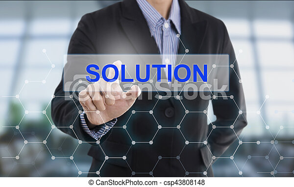 Businessman hand pressing button solution. sign on virtual screen. business concept. - csp43808148
