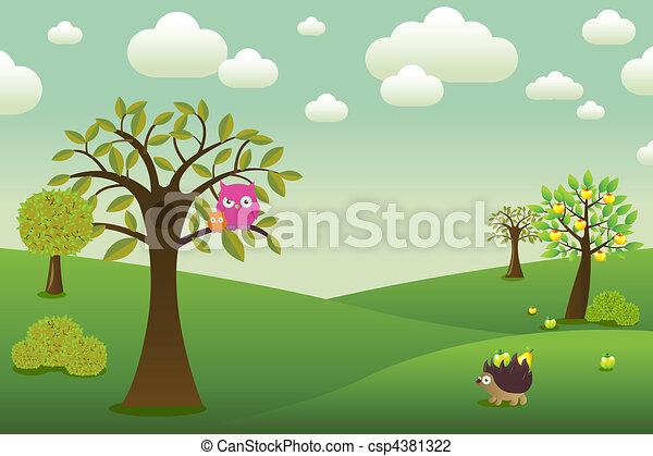 Cartoon Landscape - csp4381322