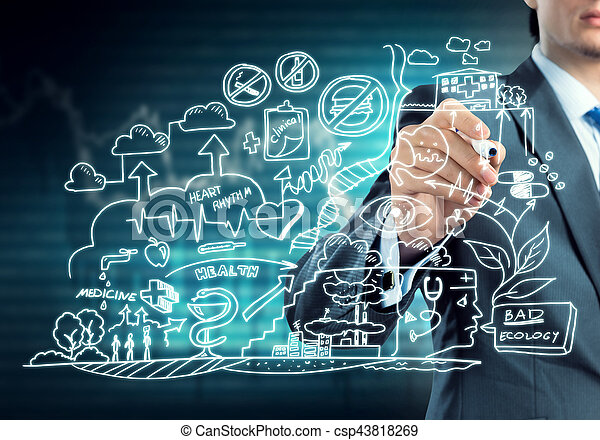 Close view of businessman drawing on screen ecology concept