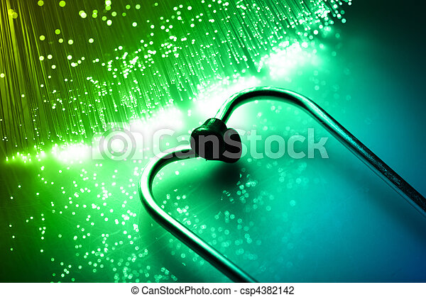 Fiber optics background with lots of light spots - csp4382142