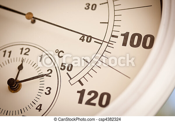 Round Thermometer Showing Over 100 Degrees - csp4382324