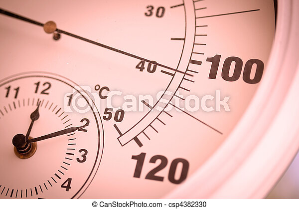 Colorized Round Thermometer Showing Over 100 Degrees - csp4382330