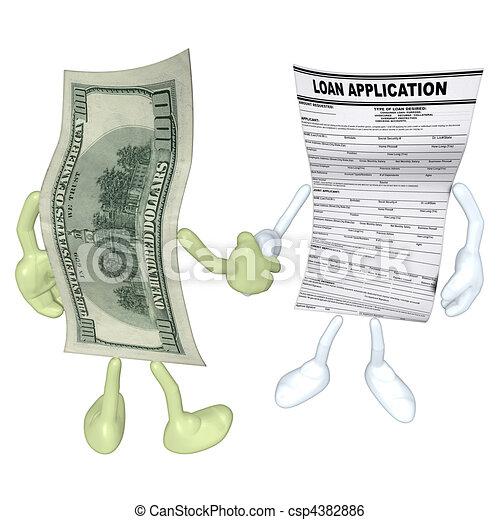 Money Loan Application Handshake - csp4382886